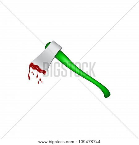 Old axe with wooden handle in green design and bloody blade