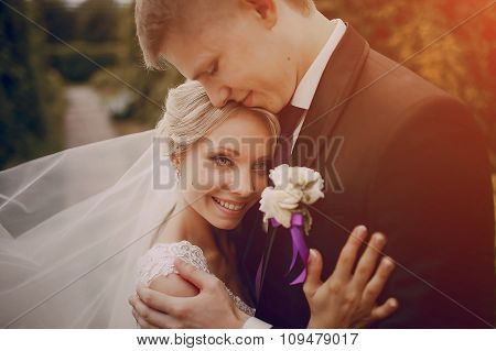 beautiful blond wedding couple