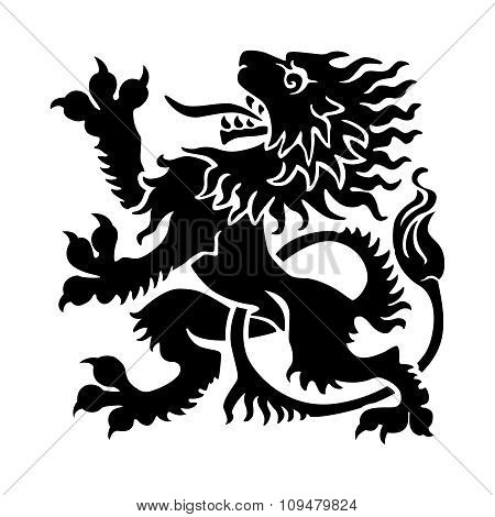 Vector Rampant lion tattoo style