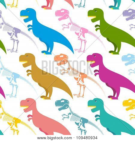 Dinosaur And Skeleton Seamless Pattern. Tyrannosaurus T-rex And Bones Background. Colorful Predator.