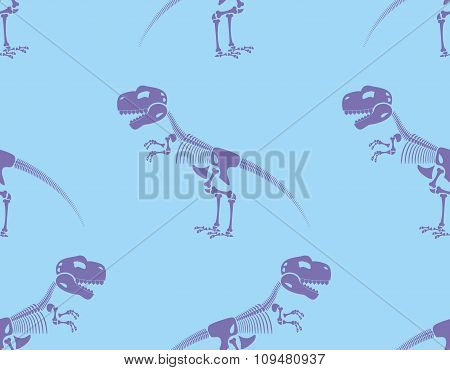 Skeleton T-rex Seamless Pattern. Purple Cute Bone Tyrannosaurus Rex On Blue Background. Ancient Anim