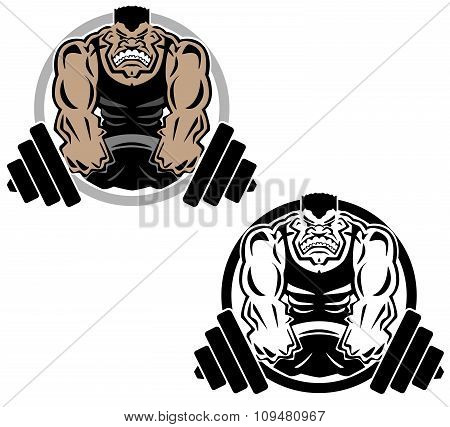 Weightlifting Muscle Fitness Gym Logo Illustration