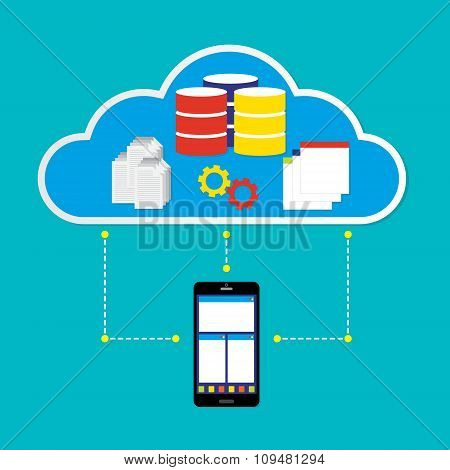 Mobile Phone Working On Cloud With Database Application And Document On Cloud. Vector Illustration C