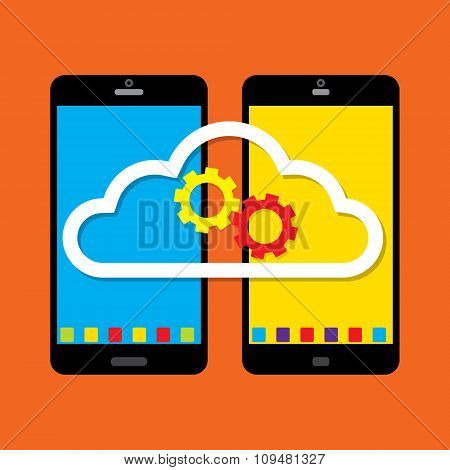 Mobile Phone Work Together On Cloud With Cross Platform. Vector Illustration Cloud Computing Concept