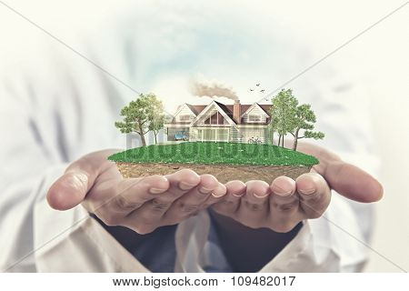 Male hands holding green life concept in palm