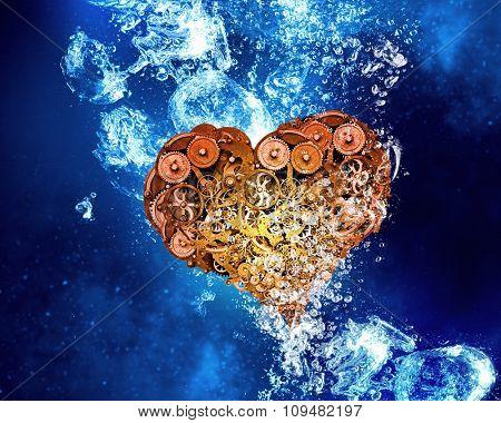 Gear heart sink in clear blue water