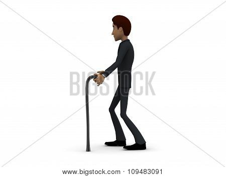 3D  Man Walking On Support Of Stick Concept