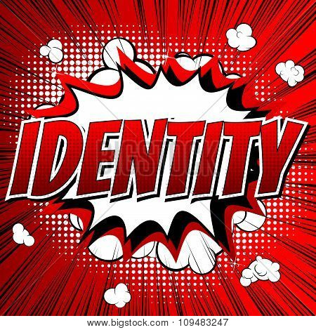 Identity - Comic book style word