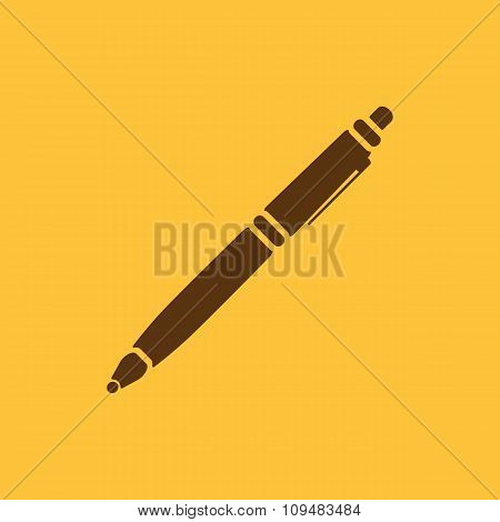 The ballpoint pen icon. Pen symbol. Flat. Vector