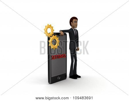 3D Man With Smart Phone Settings And Mechanical Gears On It Concept