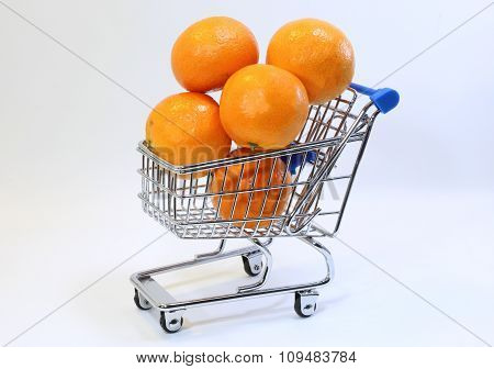 Small Shopping Cart With Many Clementines