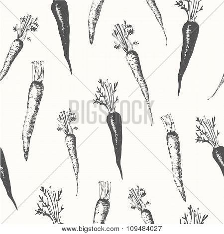 Hand-drawn sketch of carrots. Seamless nature background.