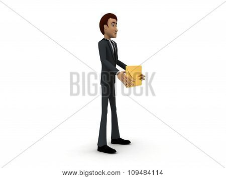 3D Man Holding Message In Hand Concept