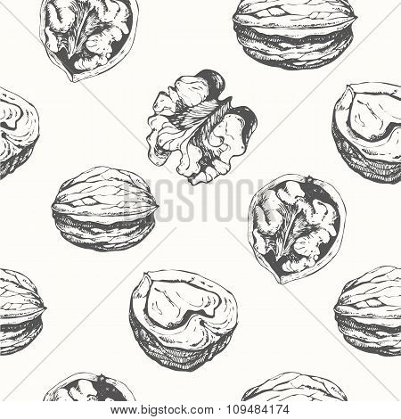 Hand-drawn sketch of walnuts. Seamless nature background.