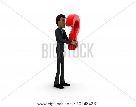 3D Man With Red Question Mark In Hand Concept