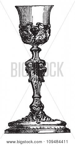 Chalice of after Pierre Germain, vintage engraved illustration. Industrial encyclopedia E.-O. Lami - 1875.