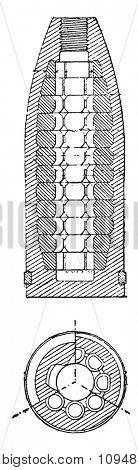 Shells 90 balls, model 1879, vintage engraved illustration. Industrial encyclopedia E.-O. Lami - 1875.