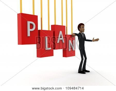 3D Man With Plan Text Concept