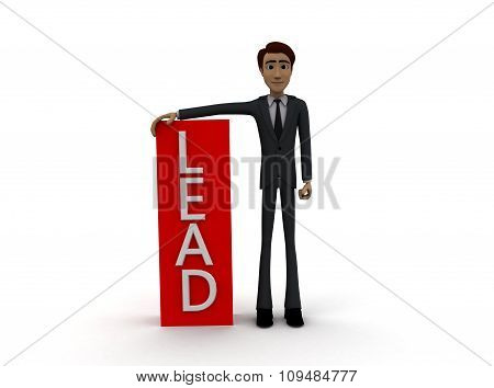 3D Man With  Lead Text Concept