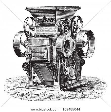 Cylinder splitters shredders, Ganz system, vintage engraved illustration. Industrial encyclopedia E.-O. Lami - 1875.