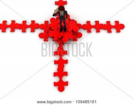 3D Man Standing On Pieces Of Puzzle Concept