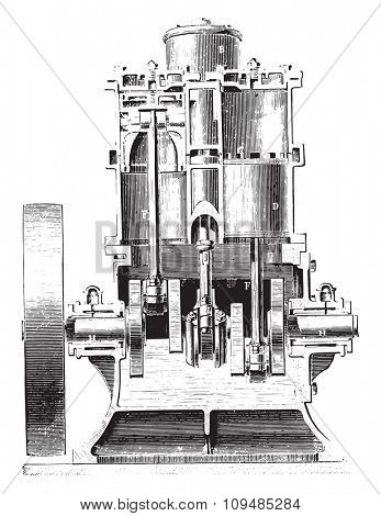 Westinghouse Motor. Cup cylinders, vintage engraved illustration. Industrial encyclopedia E.-O. Lami - 1875.