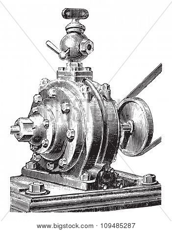 Jacomy engine. Exterior view, vintage engraved illustration. Industrial encyclopedia E.-O. Lami - 1875.