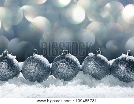 Christmas decoration. Christmas sphere on snow