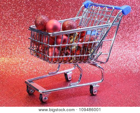 Little Shopping Cart With Red Decorative Christmas Balls