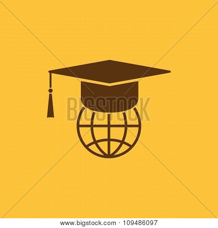 The graduation cap and globe icon