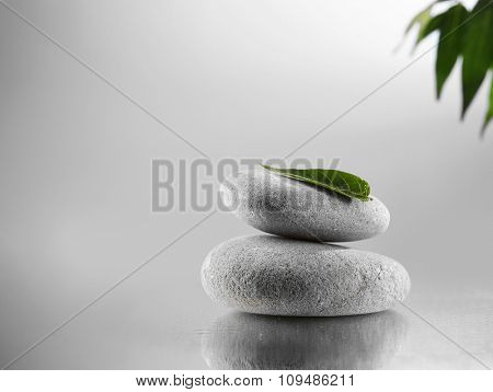 Spa stones and green branch on  grey background