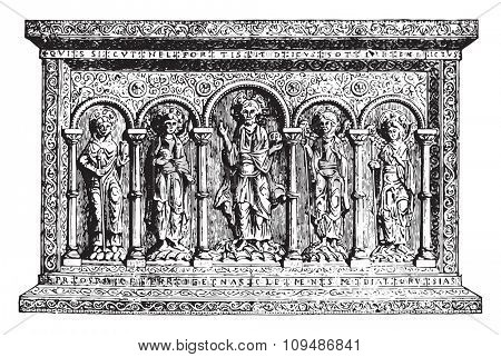 Golden Altar of the eleventh century, vintage engraved illustration. Industrial encyclopedia E.-O. Lami - 1875.
