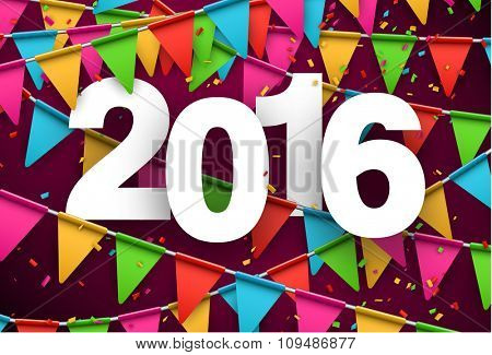 Happy 2016 new year celebration background. Vector paper illustration.