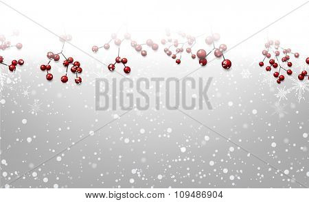 Christmas background with holly. Vector paper illustration.