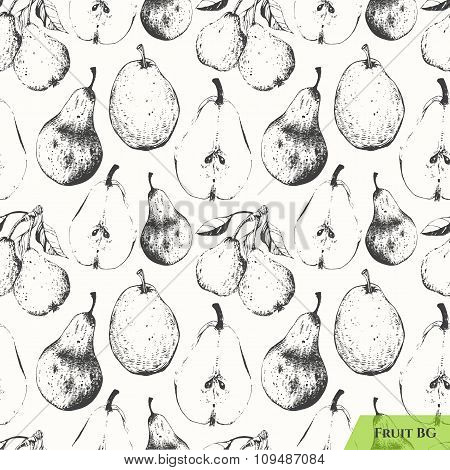 Seamless nature background. Pear vintage pattern.