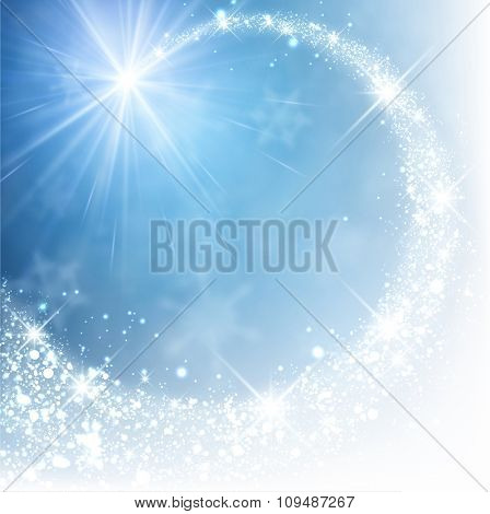 Blue winter background with petard. Vector paper illustration.