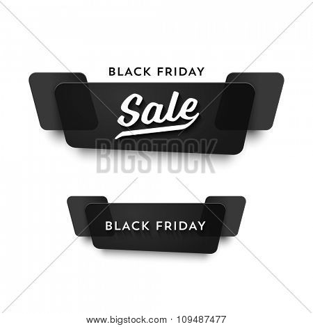 Black Friday Sale vector banner set. Nice plastic cards in material design style. Transparent black paper.