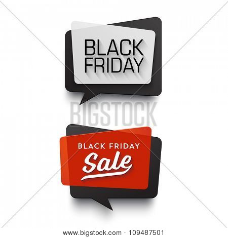 Black Friday Sale vector banner set. Nice plastic cards in material design style. Transparent black, white and red paper.