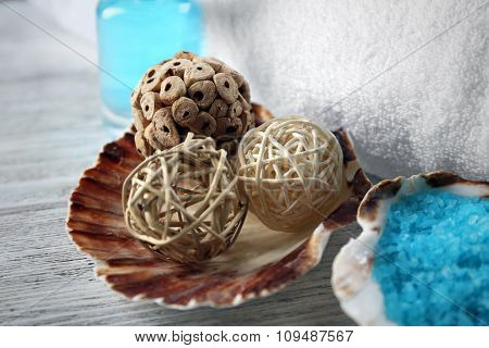 Spa composition on decorated  wooden background