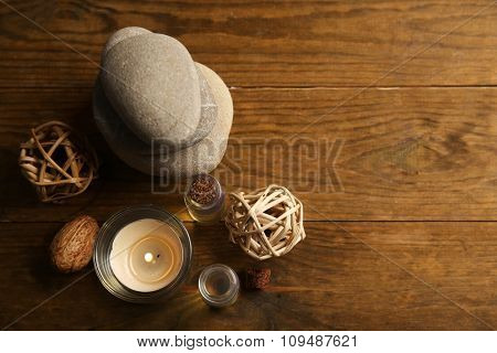 Decorated relax treatments on wooden background
