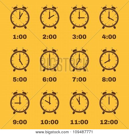 The Alarm Clock icon.  alarm clock symbol. Set
