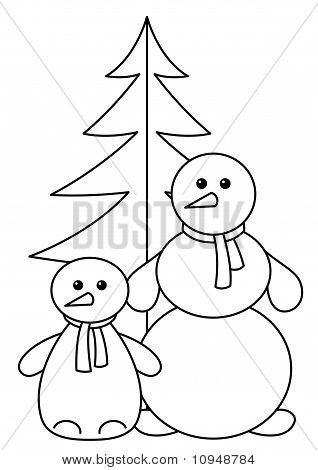 Snowballs with fur-tree, contours