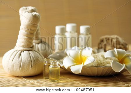 Natural relaxing spa set on wicker background, close up