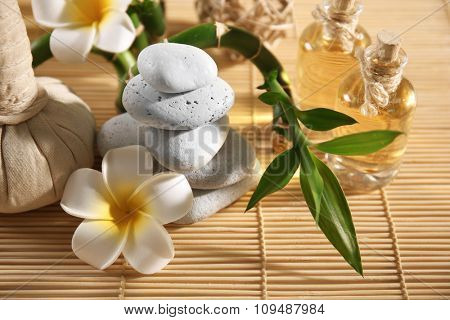 Natural relaxing spa composition  on wicker background, close up