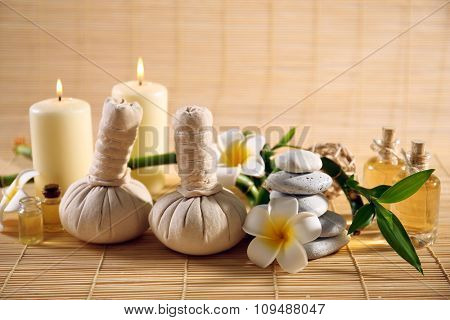 Natural relaxing spa composition  on wicker background
