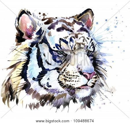White tiger T-shirt graphics, tiger eyes illustration with splash watercolor textured background. il