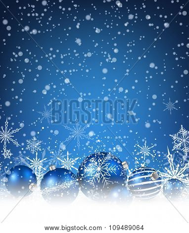 Christmas blue background with balls and snowflakes. Vector illustration.