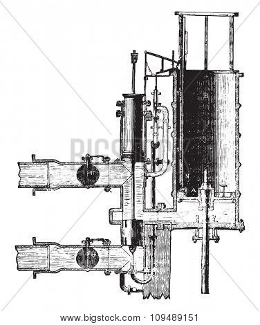Water column machine, First period of the distribution, vintage engraved illustration. Industrial encyclopedia E.-O. Lami - 1875.