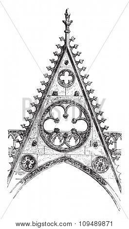 Gable of the south portal of Notre-Dame de Paris, vintage engraved illustration. Industrial encyclopedia E.-O. Lami - 1875.