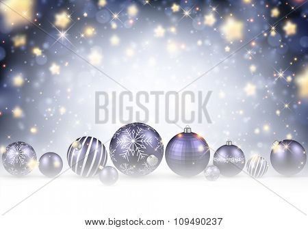 Christmas background with purple balls. Vector illustration.